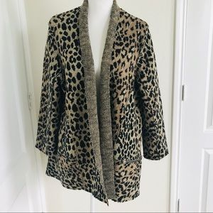 Anne French animal print wool blazer cardigan